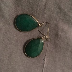 Anthropologie emerald green earrings